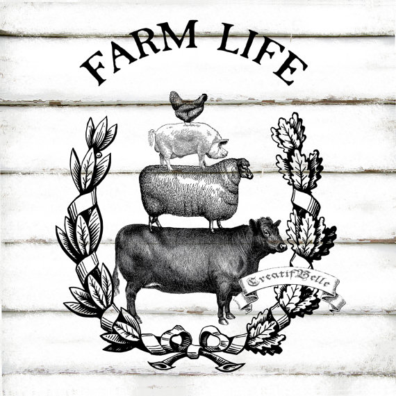 Vintage Farm Animals Wreath Large A4 Black and White Instant.