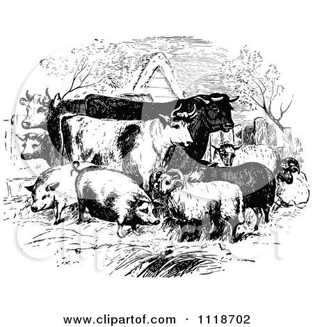 Clipart Of Retro Vintage Black And White Livestock Farm Animals.