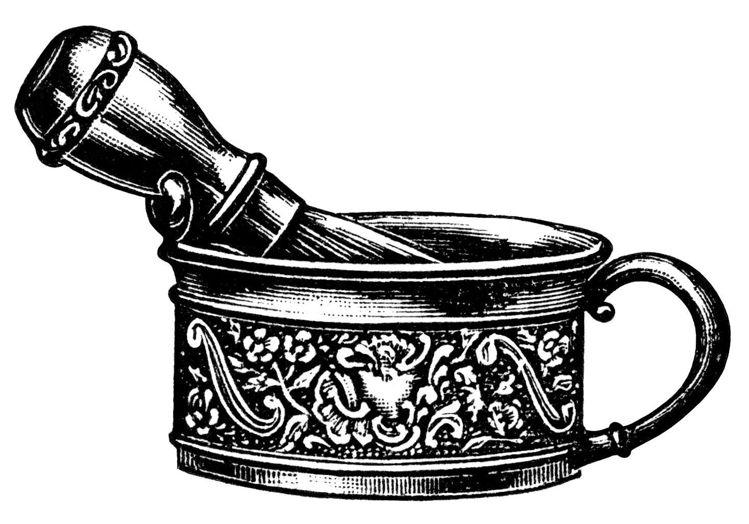 Victorian Men\'s Shaving Mug and Brush Free Printable Clip.