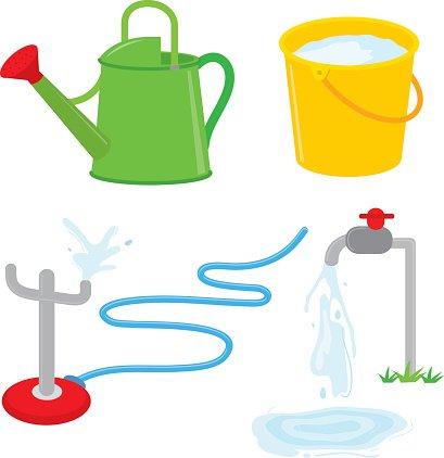 Gardening equipment watering can faucet water sprinkle.