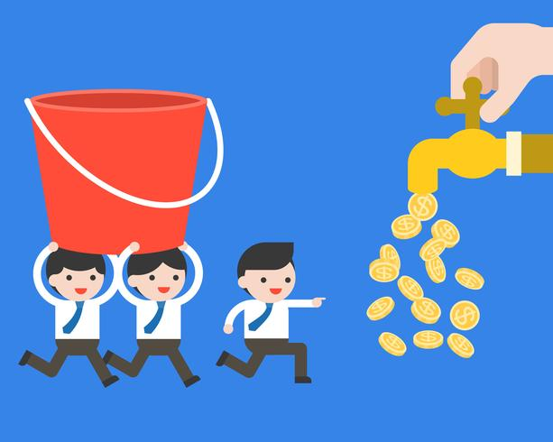 Businessman\'s team carry a bucket to money tap, business.