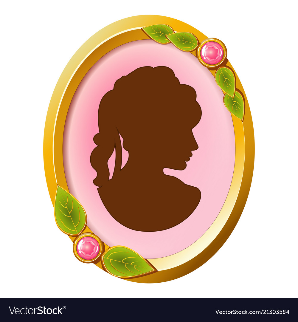 Vintage accessory cameo with female silhouette.