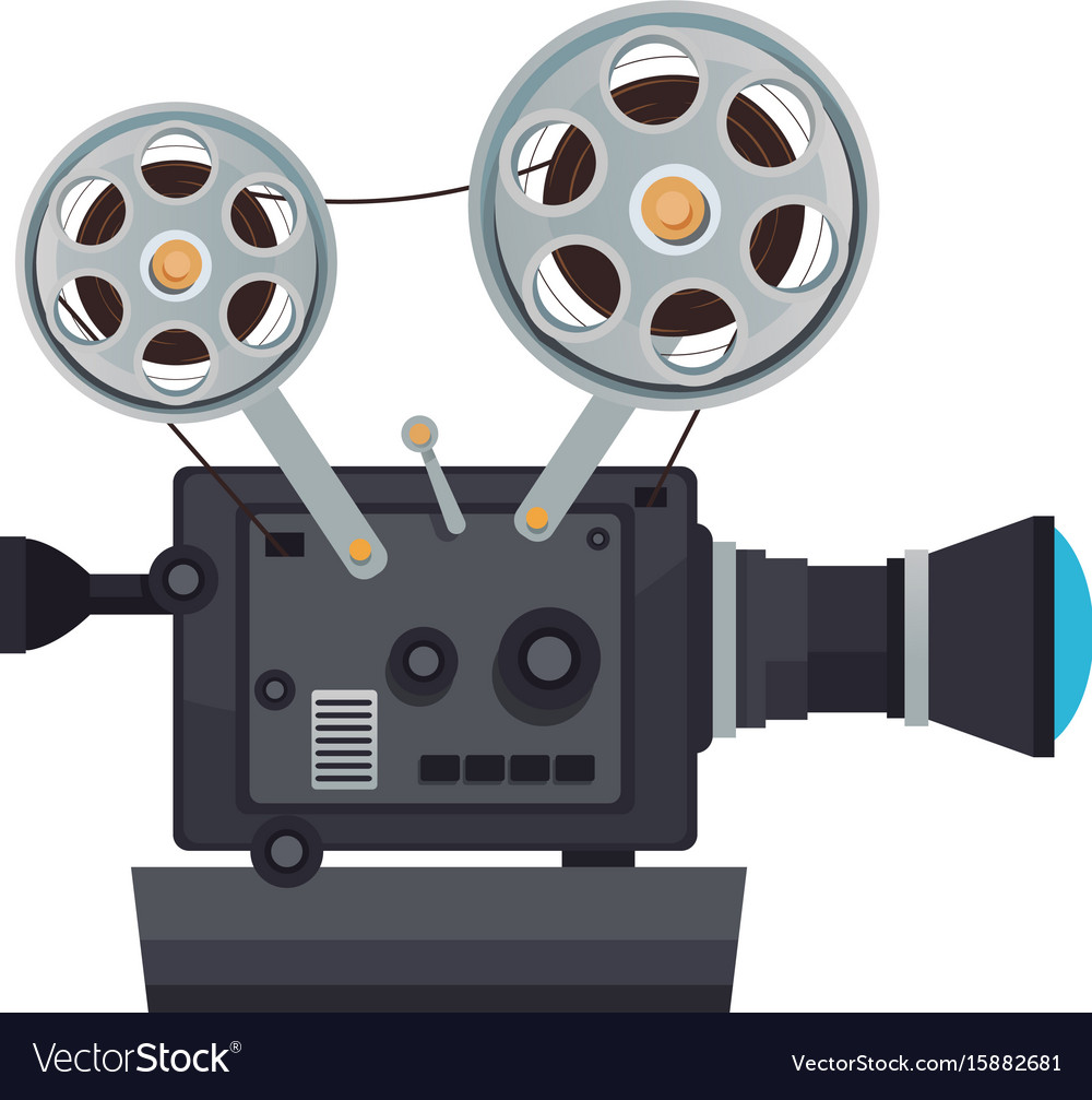 High detailed vintage film projector cinema icon.