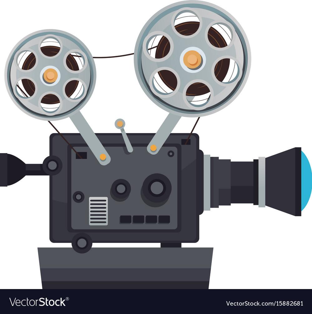 High detailed vintage film projector cinema icon.