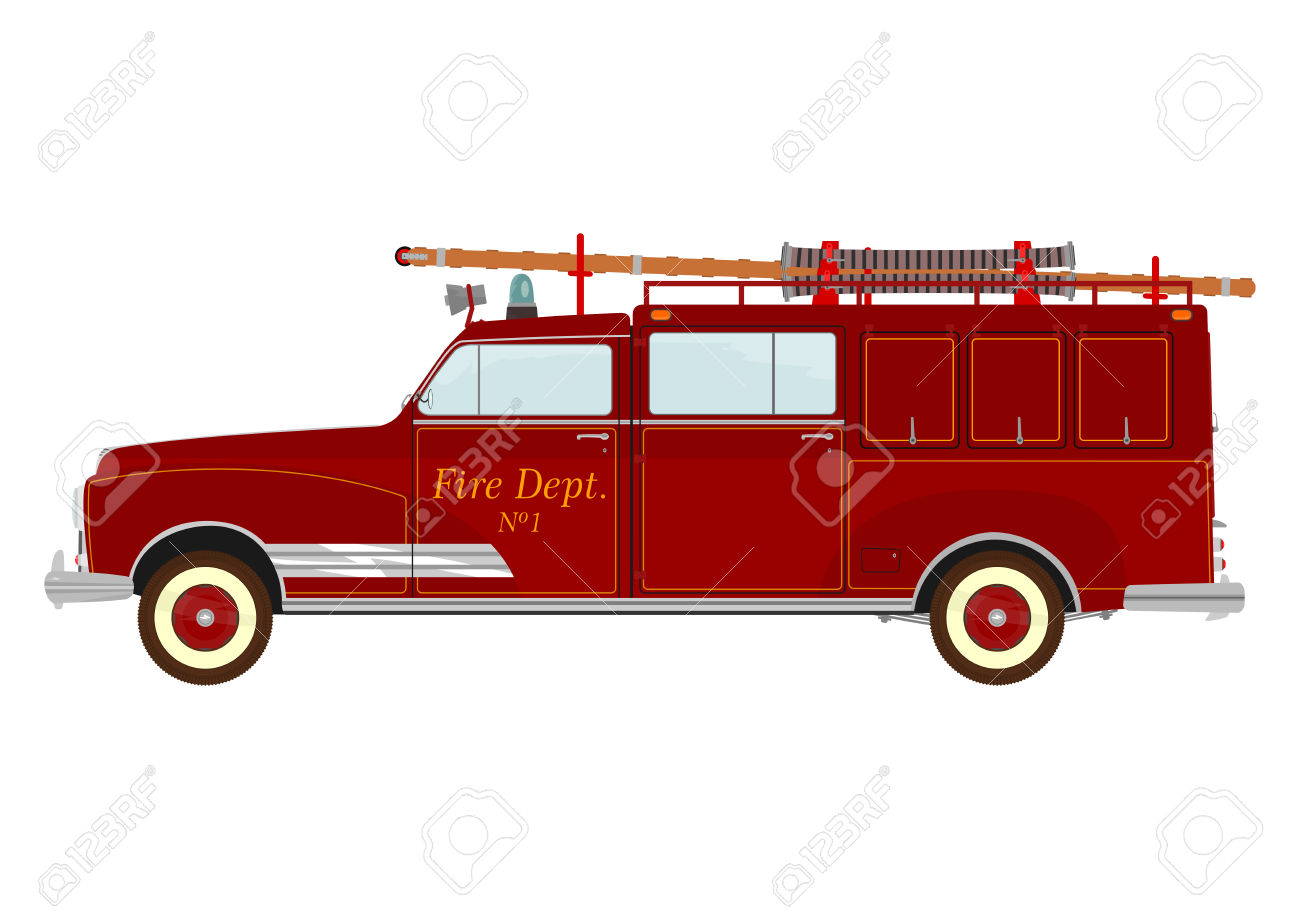 343 Vintage Fire Truck Cliparts, Stock Vector And Royalty Free.