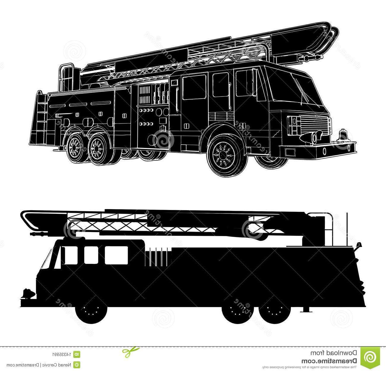 Best Fire Truck Outline Clip Art Library » Free Vector Art.