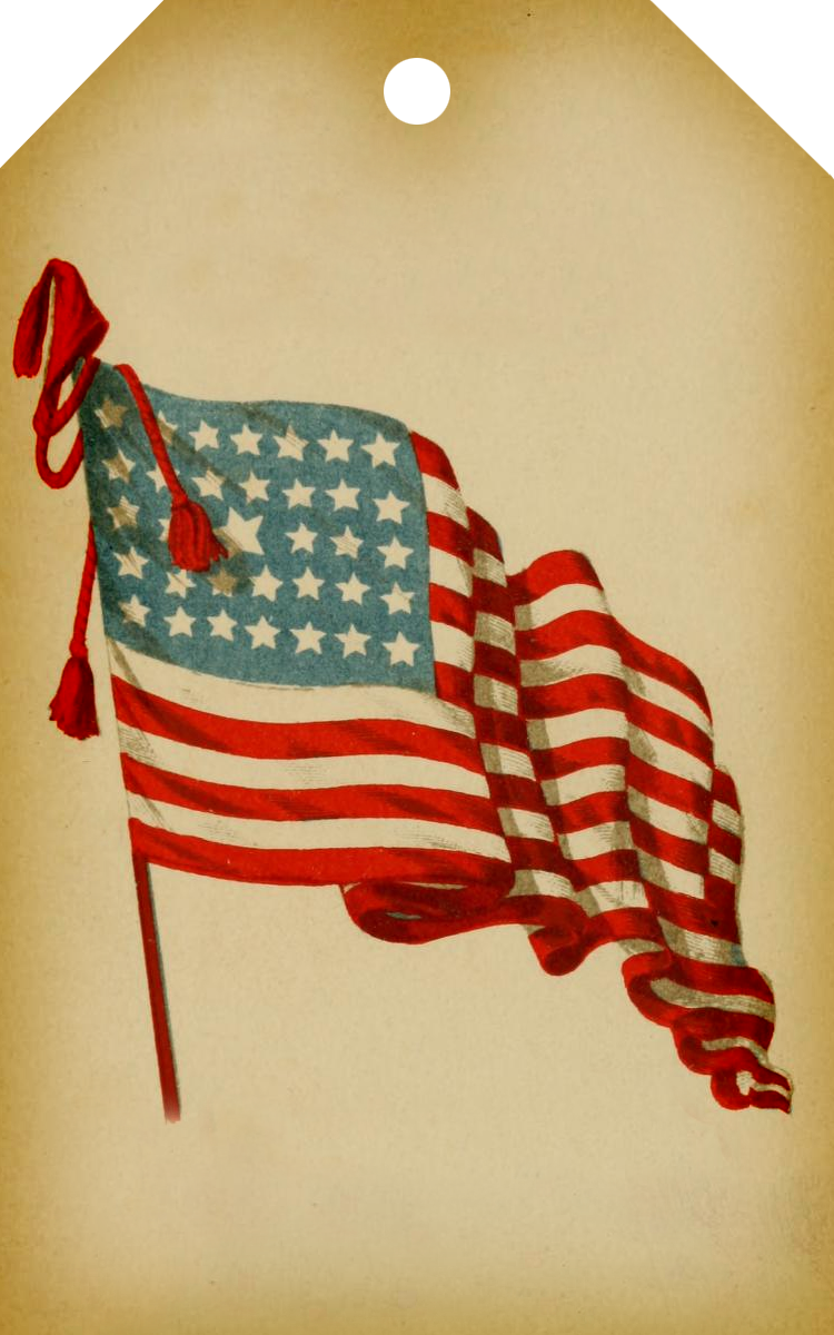 Vintage American Flag Clipart.