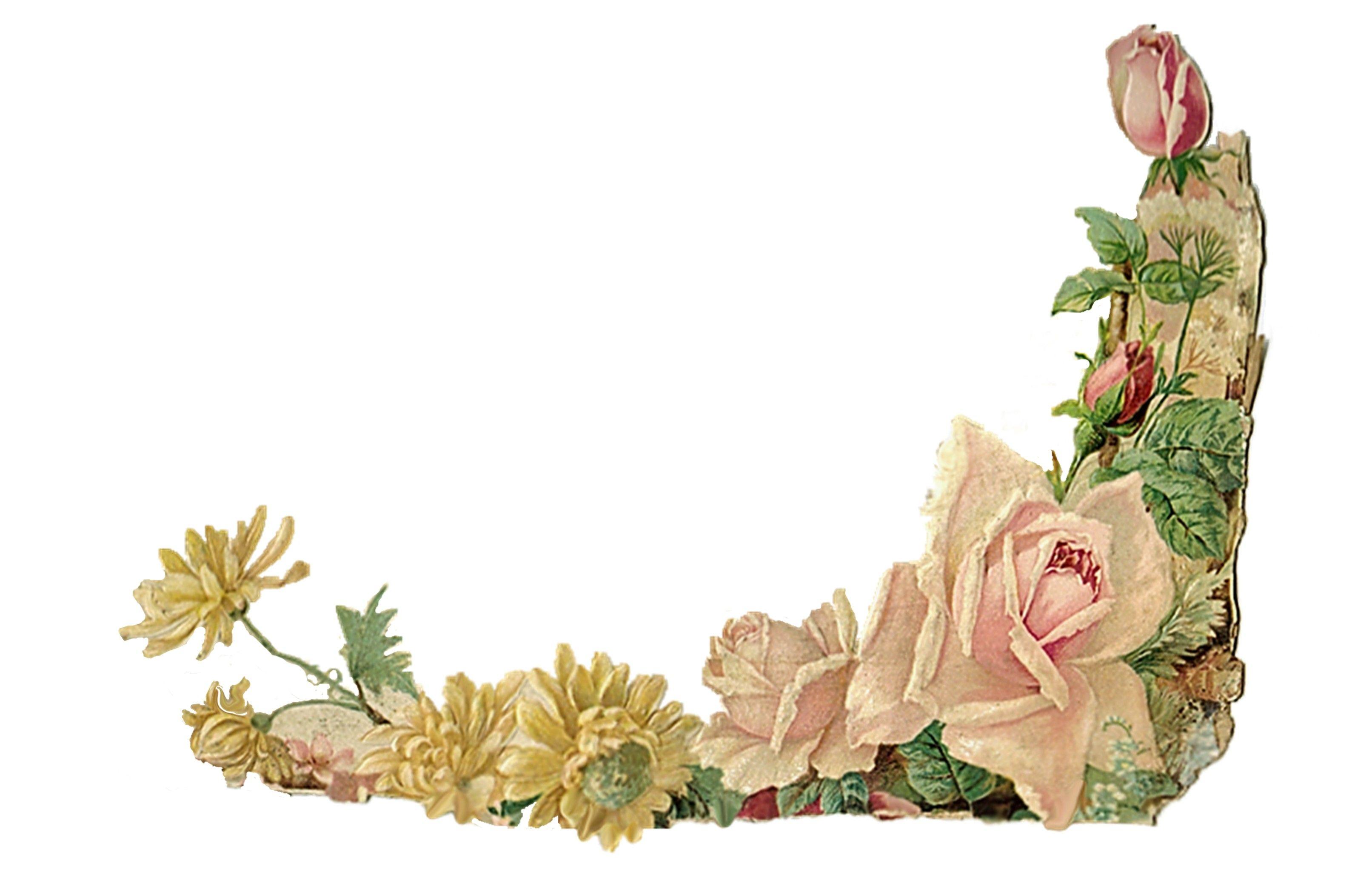 Vintage Flower Corner Border Clipart.