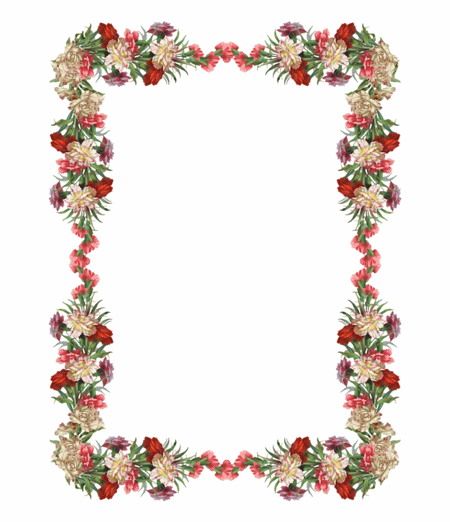 Free Digital Vintage Flower Frame And Border Png With.