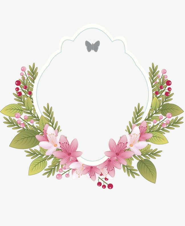Vintage floral frame label PNG clipart.