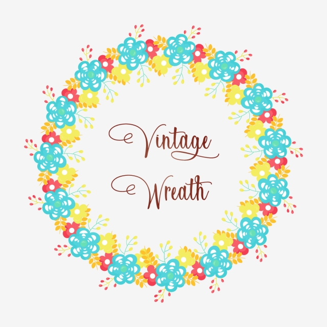 Colorful Abstract Vintage Floral Wreath, Abstract, Blue.