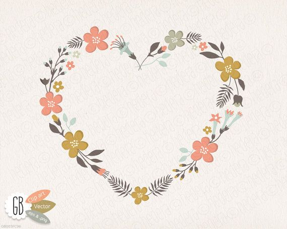 Folk flower wreaths, floral clip art, heart shaped wreath.