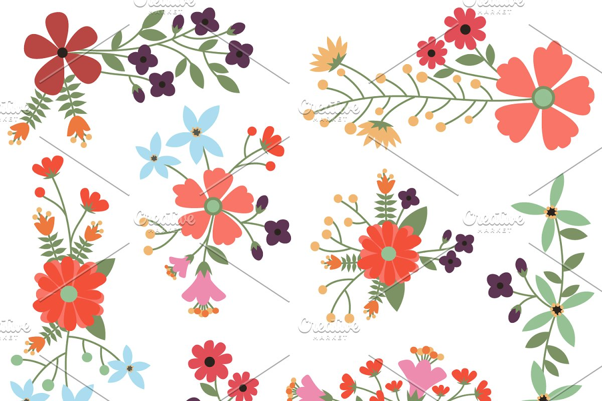 Vintage Flowers Vectors and Clipart.