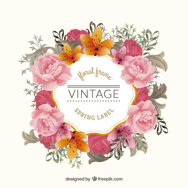 Vintage floral frame Vector.