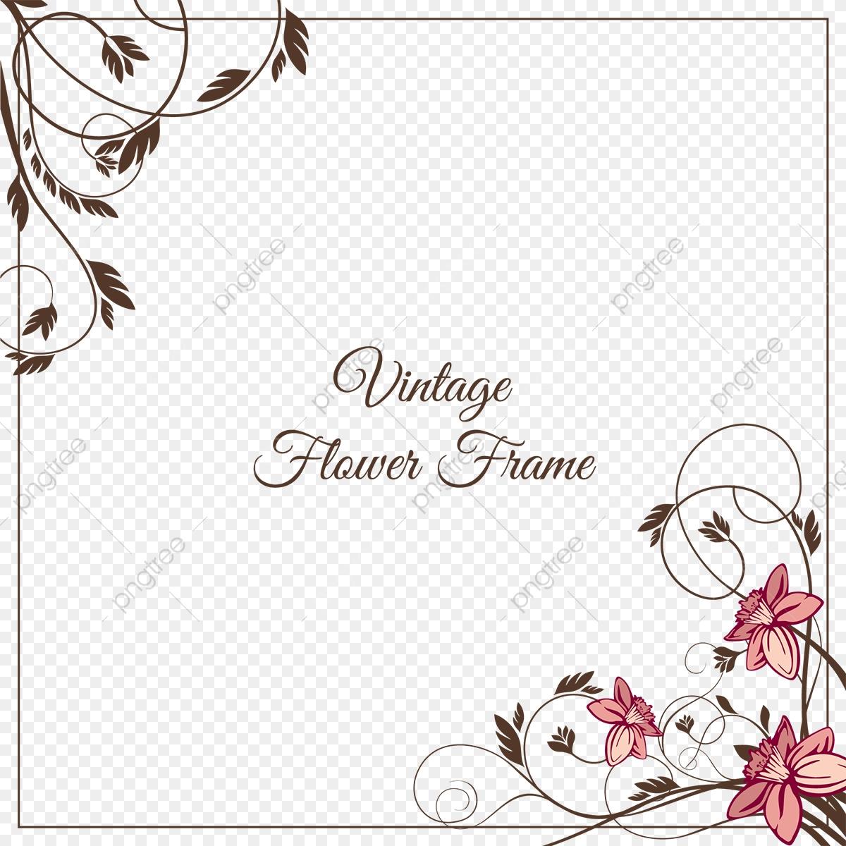 Vintage Flower Frame, Leaf, Flower, Pattern PNG and Vector.