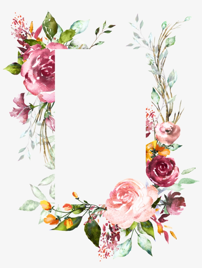 H804 Flower Frame, Flower Art, Watercolor Flowers,.