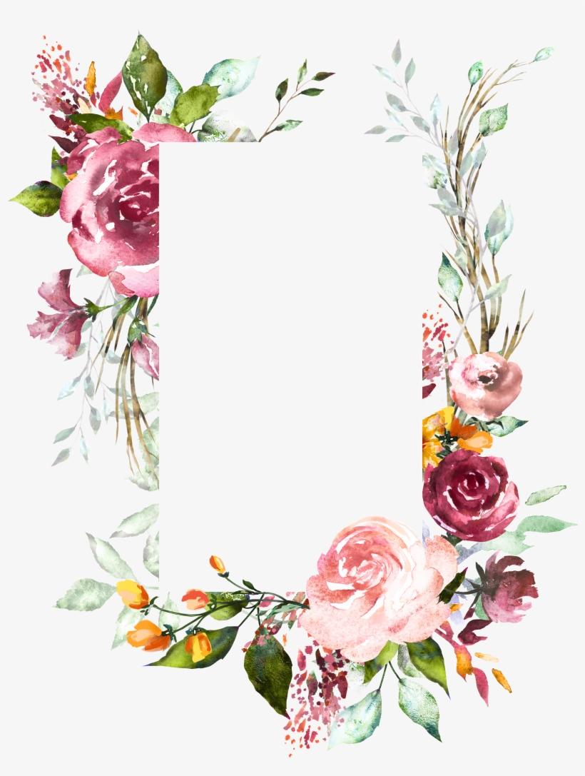 H804 Flower Frame, Flower Art, Watercolor Flowers,.
