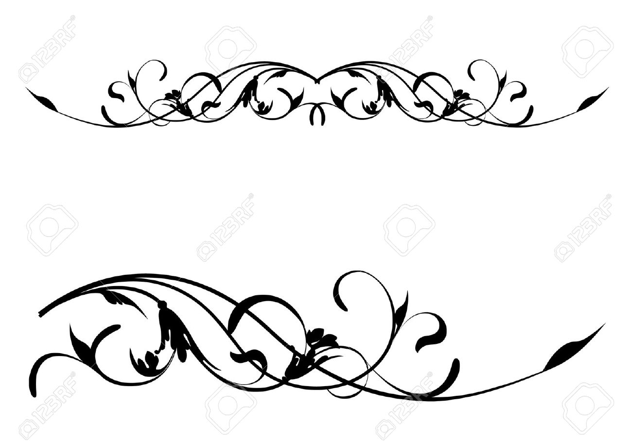 Floral Scroll Clipart.