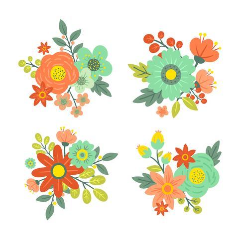 Set Of Vintage Flower Vector.