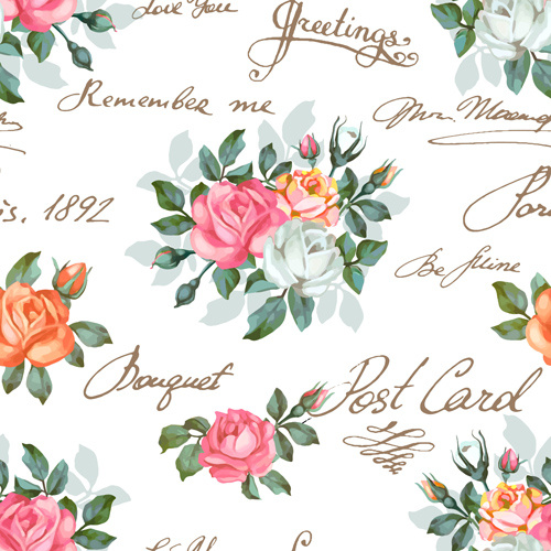 Vintage flowers patterns vector seamless design Free vector.