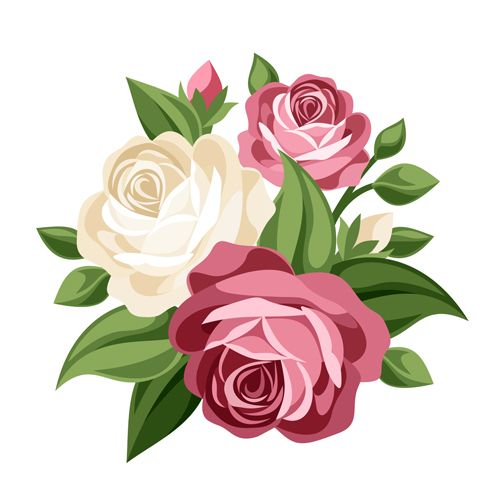 Elegant flowers bouquet vector 02.
