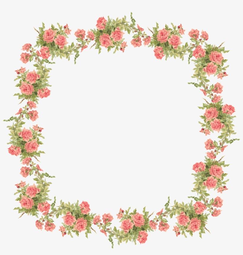 Rose Frame, Flower Frame, Flower Art, Vintage Backgrounds.