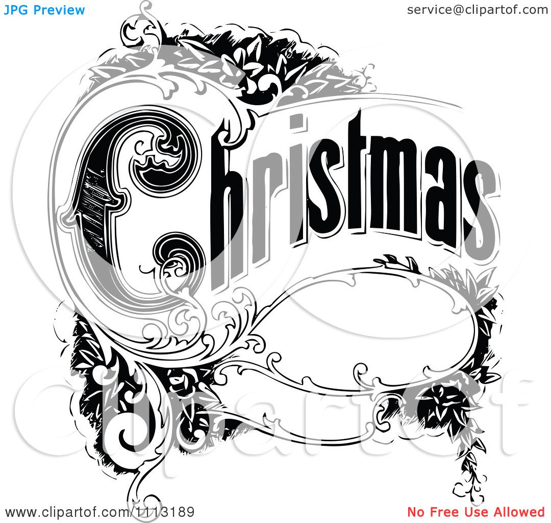 Clipart Vintage Christmas Sign With Ornate Elements.