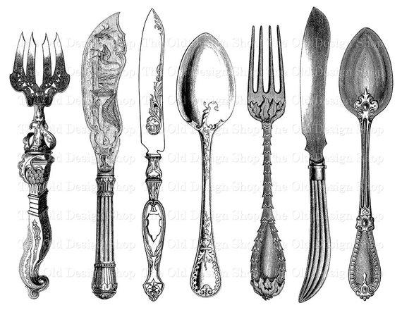 Antique Cutlery Printable Vintage Fork Knife Spoon Clip Art.