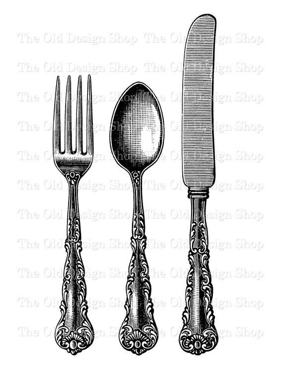 Fork Spoon Knife Vintage Clip Art Printable Silverware.
