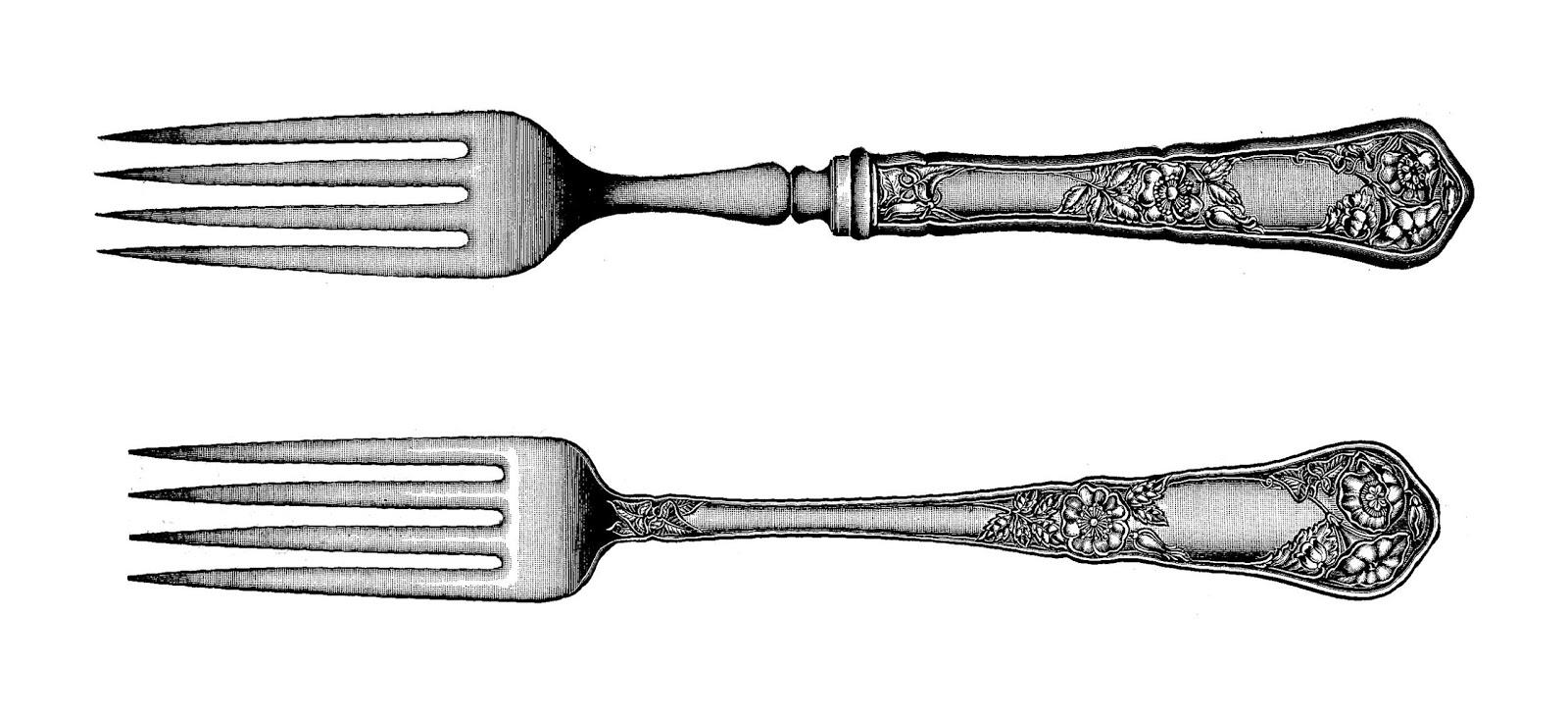 Vintage fork clipart kid.