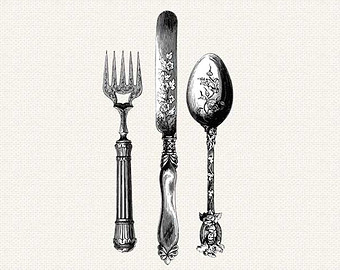 Antique Knife Fork Spoon Silverware Cutlery Vintage.