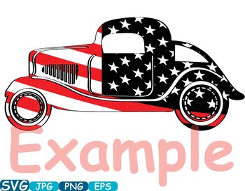 Vintage Sport Cars Hot Rod Sport 4th of July clipart birthday patriotic.