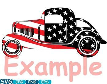 Vintage Sport Cars Hot Rod Sport 4th of July clipart birthday patriotic.