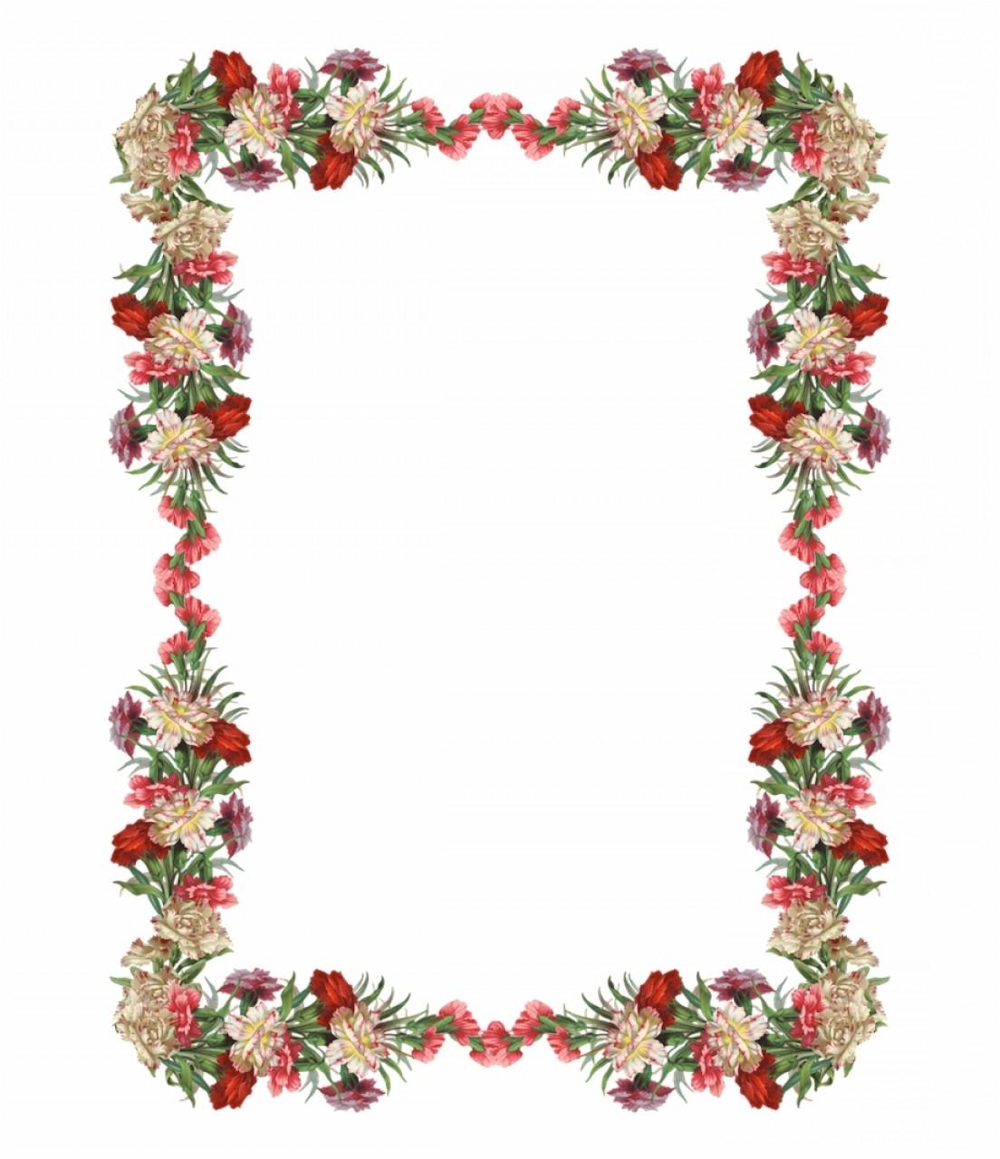 Toxmxfree Digital Vintage Flower Frame And Border Png.