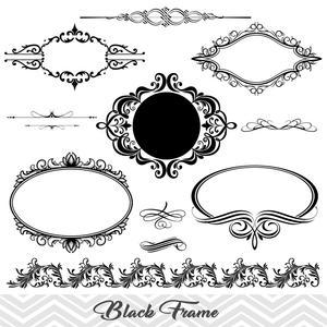 Black Frame Border Clipart, Flourish Swirl Frame Clip Art, Scrapbook  Embellishment Vintage Frame Border Clipart, 00043.