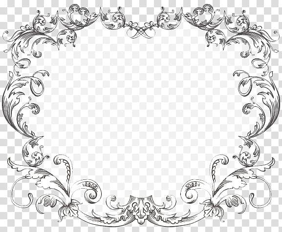 Vintage Frame One, gray flower artwork transparent.