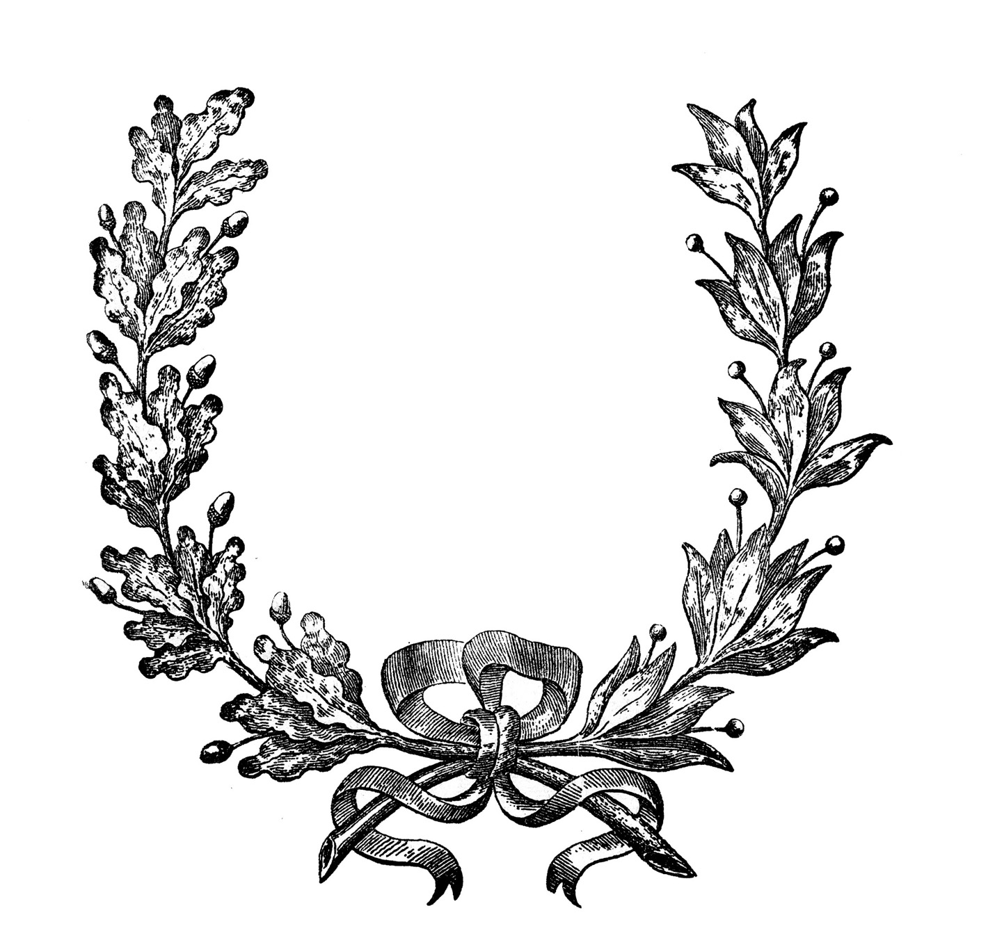 Download Vintage French Wreath Engraving The Graphics Fairy.