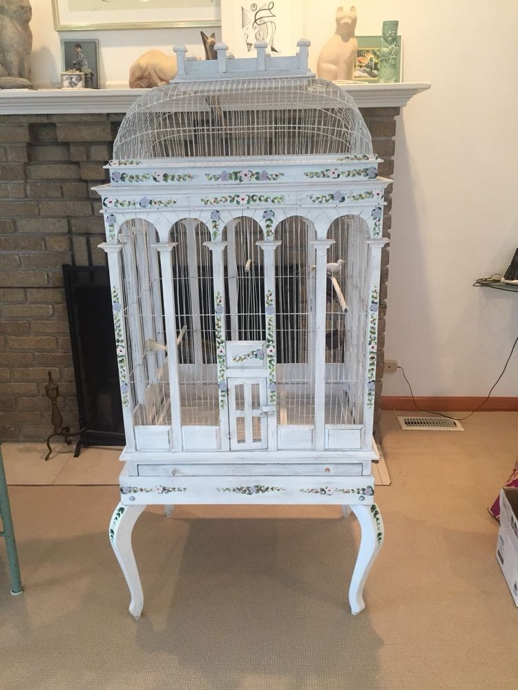 Huge Bird Cage,Shabby Chic,French Country Handpainted,Hand.