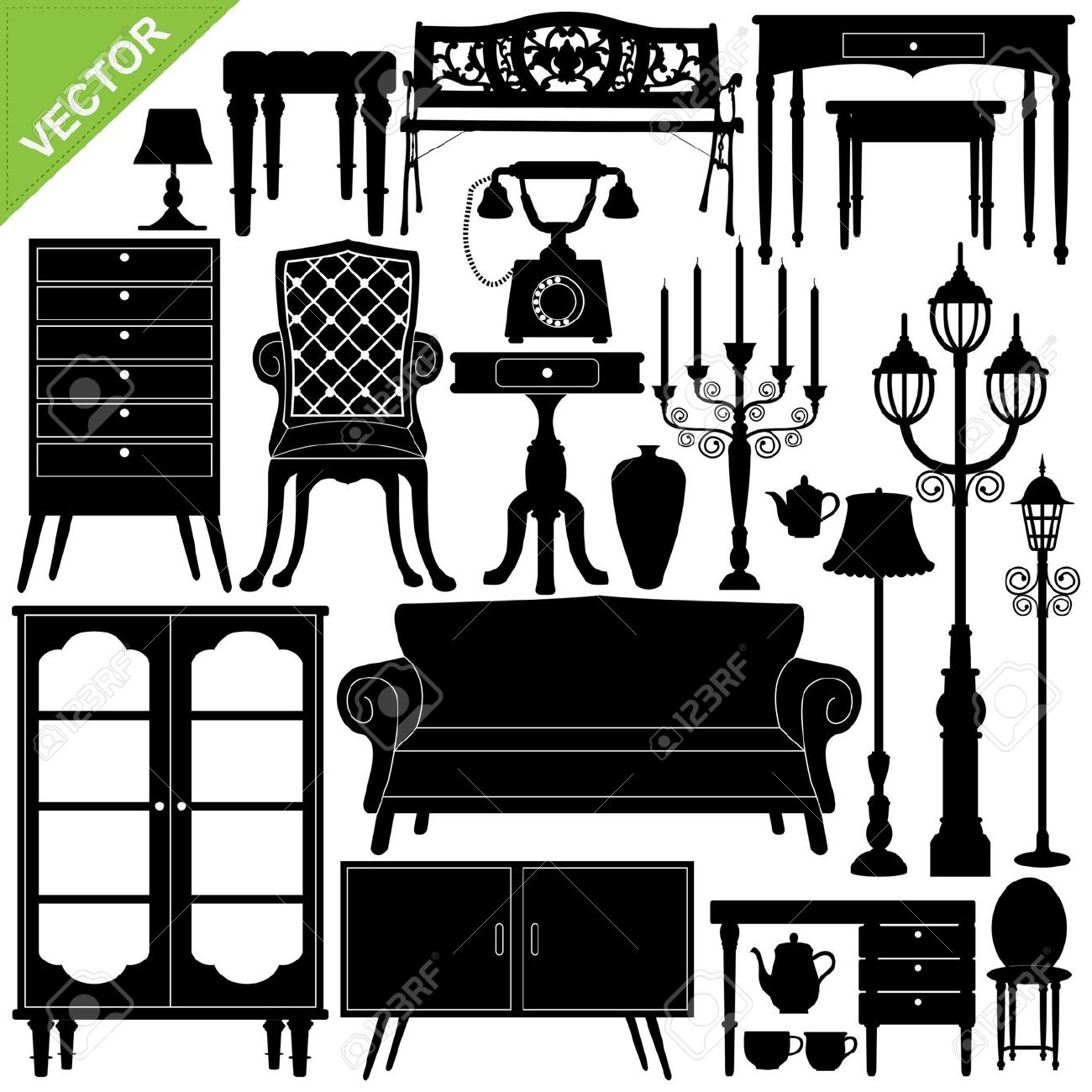 Set Of Antique Furniture Silhouettes Royalty Free Cliparts