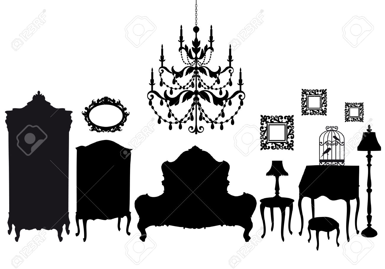 Vintage furniture silhouette clipart clipground for Black and white vintage room