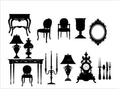 vintage furniture silhouette clipart #15