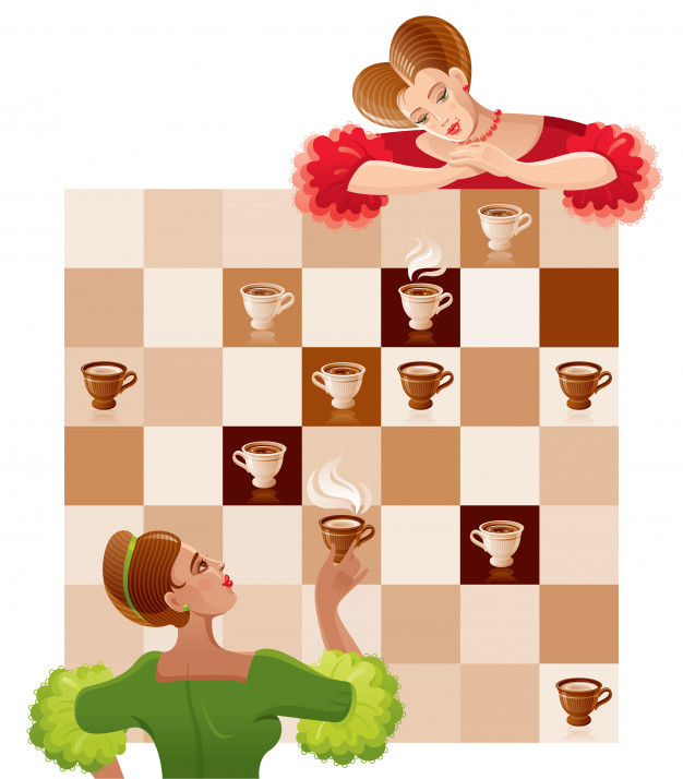 Chess game ceremony with beautiful vintage girls and coffee.