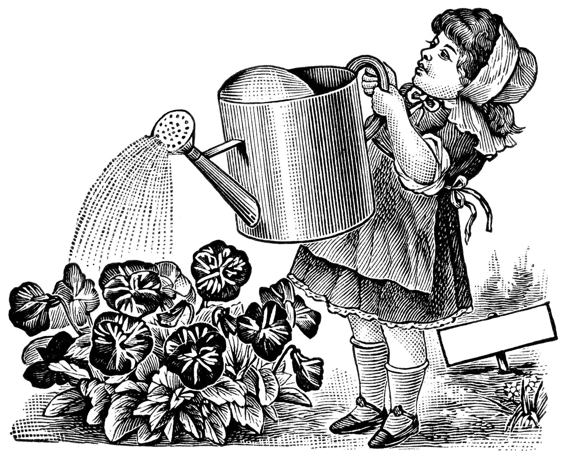 vintage magazine advertisement, girl watering flowers.