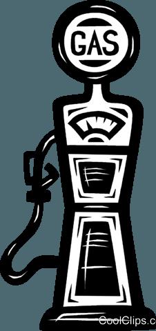 vintage gas pump Royalty Free Vector Clip Art illustration.