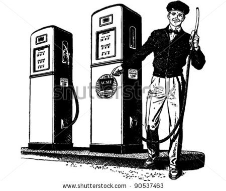 Gas station attendant clipart.