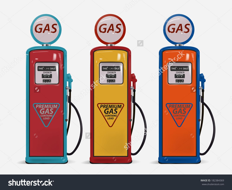 Retro Gas Pump Stock Vector 182384369.