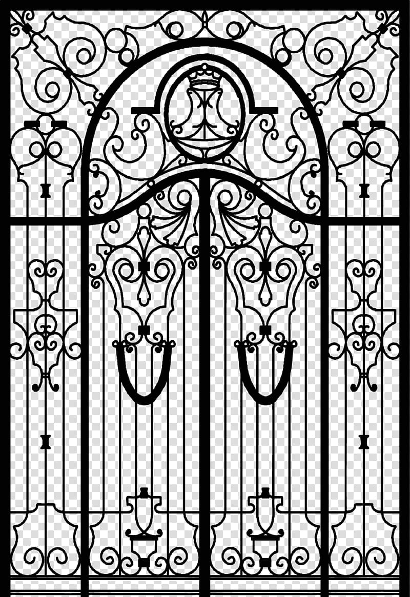 Gate Wrought iron Fence, Continental door transparent.