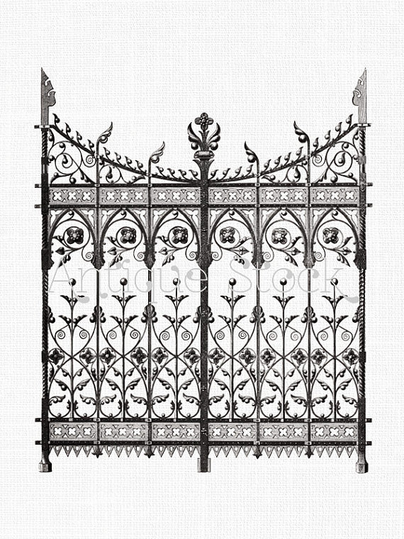 Clipart \'Wrought Iron Gate\' Digital Download PNG Image for.