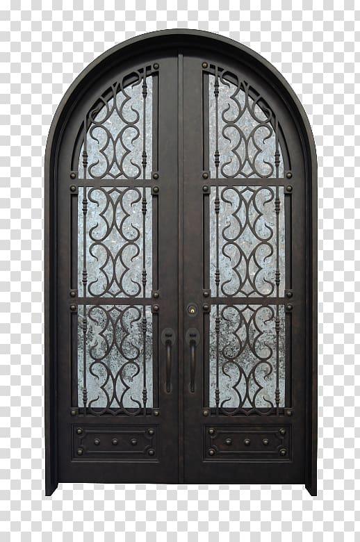 Iron Door Arch Window Gate, iron transparent background PNG.