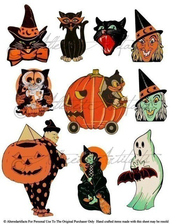 Printable Retro Halloween Clip Art Printable Vintage.